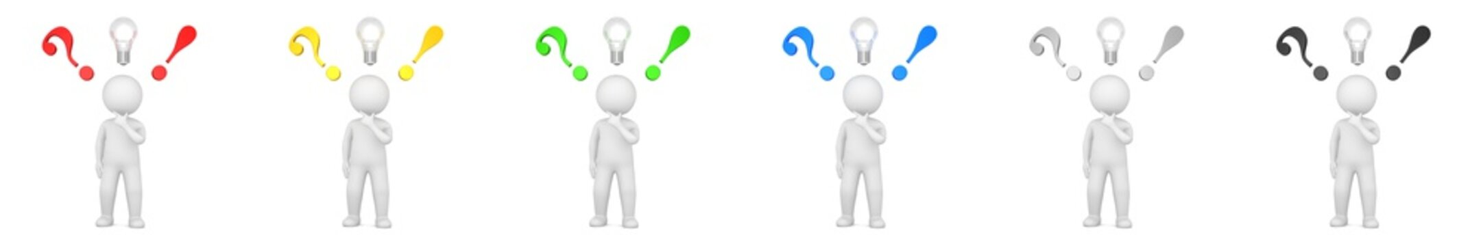 question mark ideas light bulb exclamation point asking answering man 3d render red black green blue