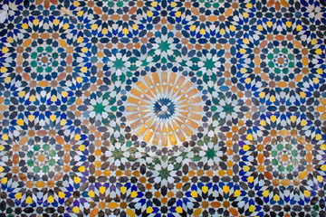 Moroccan Colorful blue red green and yellow mosaic as Texture, background