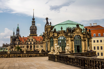 The pavilions of the Dresden Zwinger art gallery in Dresden.