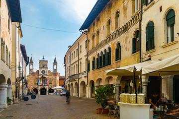 Pordenone street overlooking Town Hall