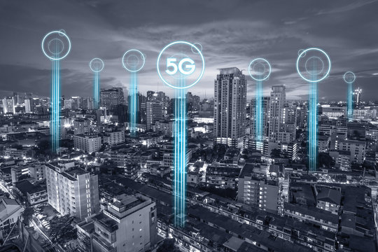 5g communication network connection for internet concept or technology concept. internet of things