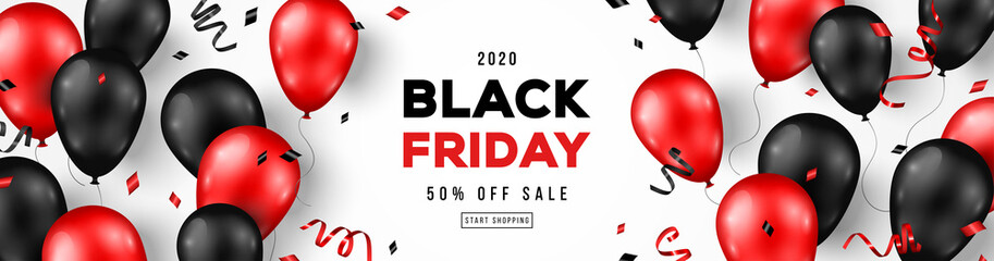 Black Friday Sale Horizontal Banner with Red and Black Shiny Balloons on White Background. Confetti and Place for text. Vector illustration.