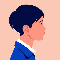 Head of a little Asian boy in profile. The face of a child on the side. Portrait. Avatar. Vector flat illustration