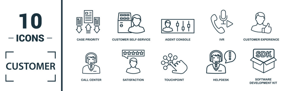 Customer Service icon set. Include creative elements agent console, case priority, satisfaction, helpdesk, knowledge base icons. Can be used for report, presentation, diagram, web design