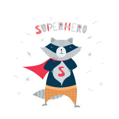 Cute, funny raccoon in superhero costume, mask, stars, lightning and handwritten lettering superhero in flat style. Illustration for children, postcards, banner. Vector