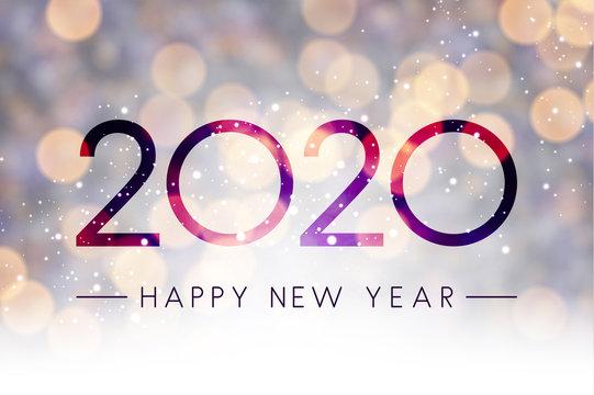 Blurred shiny Happy New Year 2020 background.