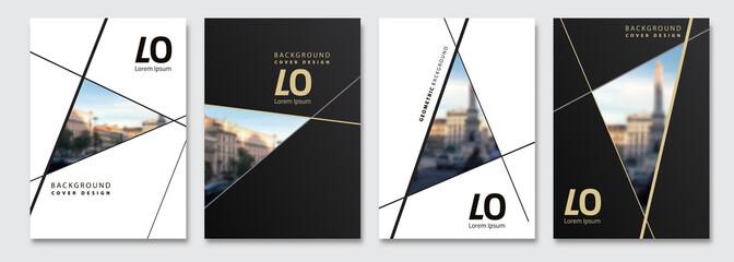 Vector cover design. Flyer, presentation, brochure layout. Banner, modernist poster design. City blur background.