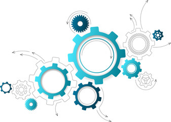Connected cogwheels / gears icons - development, planning, technology concept, vector illustration
