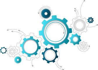 Fototapeta Connected cogwheels / gears icons - development, planning, technology concept, vector illustration obraz