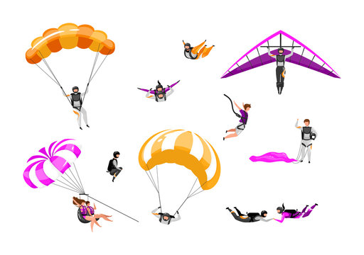 Extreme air sport flat vector illustrations set. Couple paragliding, skydiving, parasailing. Parachuting, hang gliding. Tandem freefalling, safe landing. Outdoor activity isolated cartoon characters