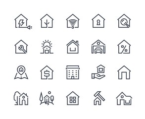Home line icons. Browser interface button, home page pictogram, houses and city building constructions. Vector real estate set with many design flat architecture pictograms