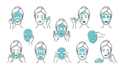 Facial mask set. Skin care and health infographic elements, girl face with facial mask applying steps. Vector hand drawn isolate images icons masks girl face apply for clean skin