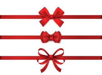 Red realistic bow. Horizontal red ribbon collection. Holiday gift decoration, valentine present tape knot, shiny sale ribbons set. Vector illustration christmas tie for gifts on white background