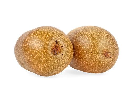 Two yellow kiwi fruits isolated on a white background. Golden kiwi.
