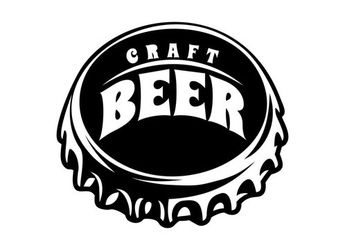 Vector illustration with stylized beer bottle cap