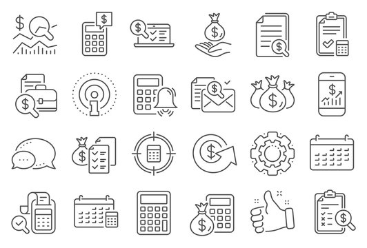 Accounting line icons. Set of Calculator, Check investment and Report icons. Calendar, Banking account and Finance accounting report document. Bill, Calculator and Wealth auditing. Vector