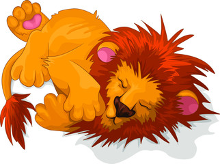 Vector image of a majestically sleeping lion