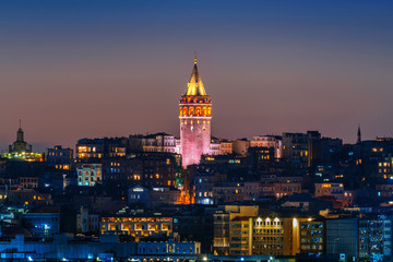 Wall Mural - Galata Tower at night in Istanbul, Turkey.