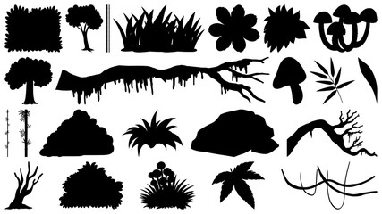 Set of silhouette trees and flowers