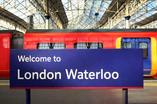 London Waterloo station with some trains in the background, England.