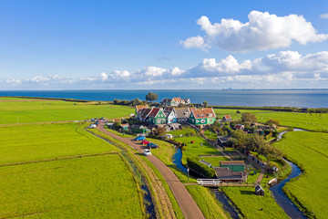 Aerial from the historical village Marken at the IJsselmeer in the Netherlands