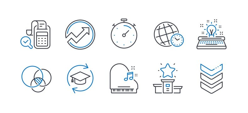Set of Education icons, such as Piano, Time zone, Continuing education, Audit, Euler diagram, Timer, Bill accounting, Winner podium, Typewriter, Shoulder strap line icons. Line piano icon. Vector