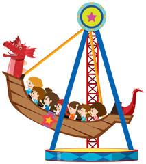 Children riding on viking ride