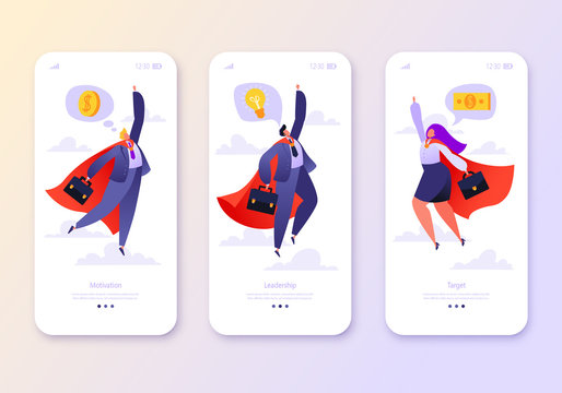 Mobile app page, screen set. Concept for website on business and finance theme. Concept of making money, financial success and leadership, teamwork. Business people flying in superhero costumes.