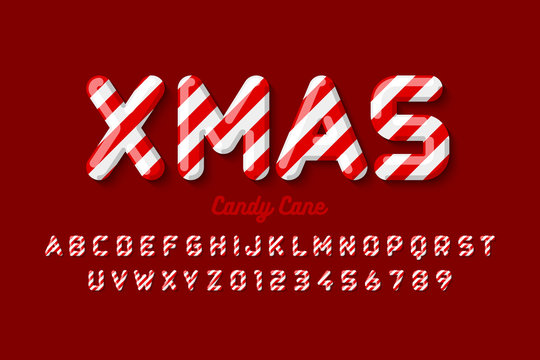 Christmas candy cane font, alphabet letters and numbers