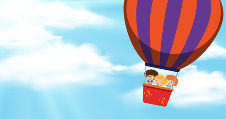 Background scene with blue sky and kids on balloon