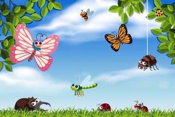 Bugs in nature scene