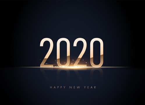 Happy new 2020 year Elegant gold text with light in black background with shining bokeh. Minimalistic template. vector illustration