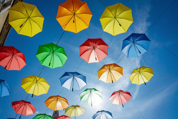 City of Gap - Hautes Alpes - Colourful umbrella city decoration