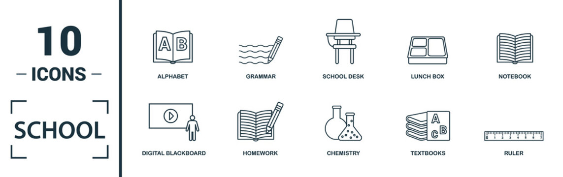 School icon set. Include creative elements school, bell, alphabet, history, art icons. Can be used for report, presentation, diagram, web design