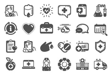 Medical rx icons. Hospital assistance, Ambulance, Health food diet, Laboratory tubes icons. First aid kit, Medical doctor, Prescription Rx recipe. Drop counter, Ambulance emergency car. Vector