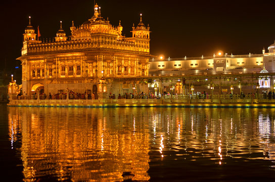 Golden Temple Amritsar Punjab Harmandir Sahib Gurdwara at Night View With Lights. Founded by Guru Nanak Dev, this is world's most holy sikh shrine, and one of the richest indian temples
