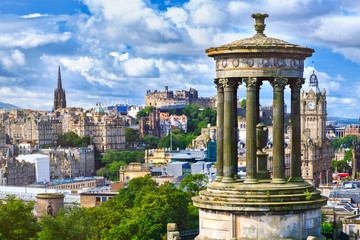 The city of Edinburgh in Scotland on a summer day
