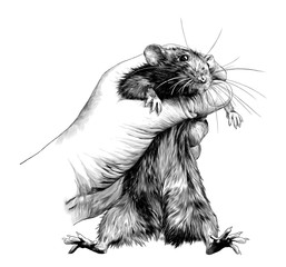 mouse clenched in fist and holding on weight, sketch vector graphics monochrome illustration on white background