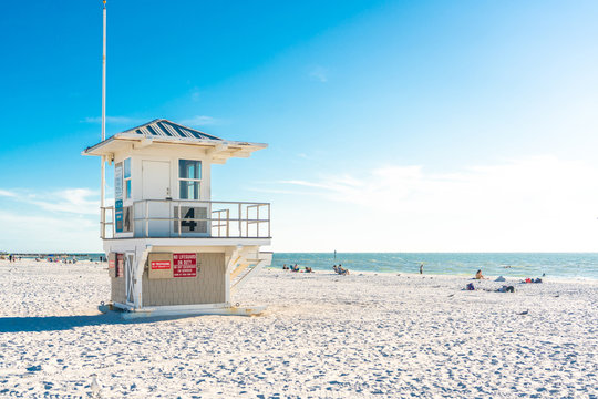 Lifeguard tower on Clearwater beach with beautiful white sand in Florida USA