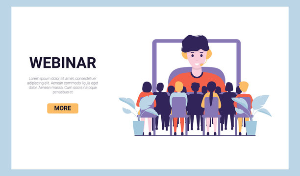 Training conference and couch lecture. Teacher and leader educates business webinar audience.  Business consultation, project assistance. Flat vector concept illustration isolated on white background.