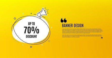 Up to 70% Discount. Yellow banner with chat bubble. Sale offer price sign. Special offer symbol. Save 70 percentages. Coupon design. Flyer background. Hot offer banner template. Vector