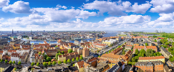 panoramic view at the city center of copenhagen
