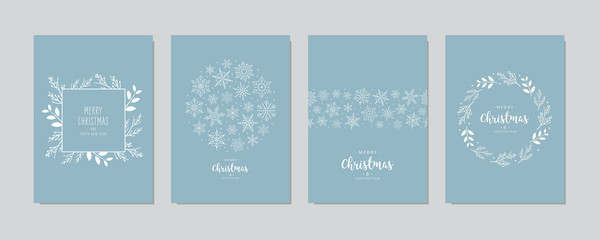 Wall Mural - Merry Christmas modern elegant card set greetings fir pine branches and snowflakes on blue ice background