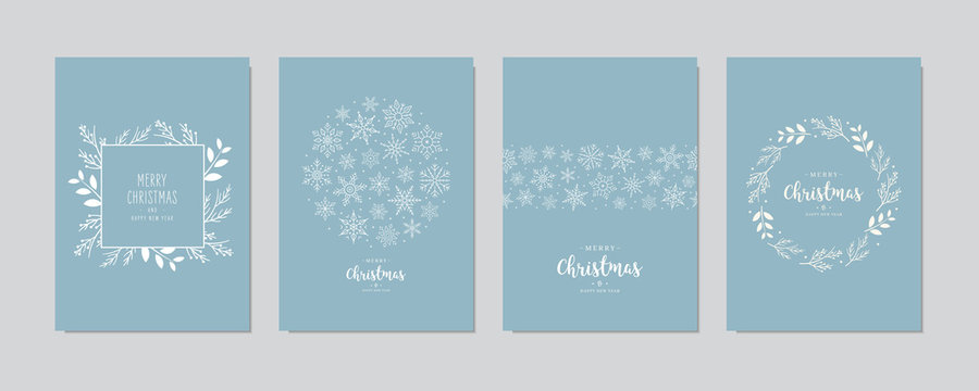 Merry Christmas modern elegant card set greetings fir pine branches and snowflakes on blue ice background