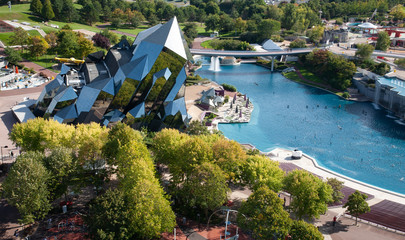 Futuroscope aerial view, theme park in Poitiers, France