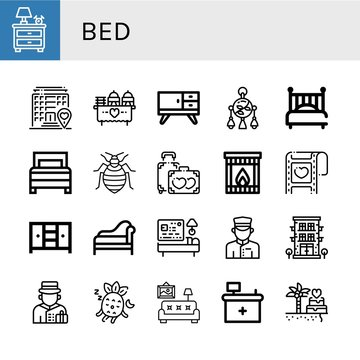 Set of bed icons such as Nightstand, Hotel, Wedding, Furniture, Mobile toy, Bed, Bed bug, Honeymoon, Fireplace, Closet, Divan, Doorman, Bellboy, Sleeping, Living room, Front desk ,