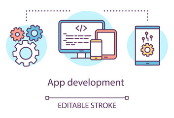 App development concept icon. Mobile device software programming toolkit idea thin line illustration. Application performance management. Vector isolated outline drawing. Editable stroke