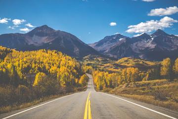 San Juan Scenic Byway near Telluride Colorado on fall day