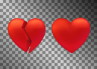 Set of heart icon. Broken and whole sign. UI game element. Symbol of love and Valentine s Day