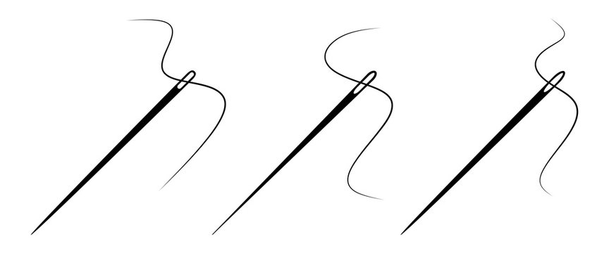 Set of sewing needle with a thread. Vector icon on white background.